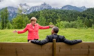 German Chancellor Angela Merkel and US president  Barack Obama.