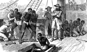 A print shows African captives being taken on board a slave ship.