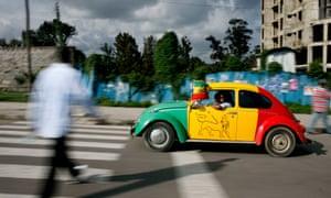 A car driving through Addis Ababa