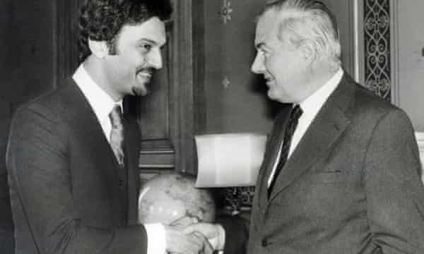 Prince Saud al-Faisal meeting Labour foreign secretary James Callaghan in London in 1975.