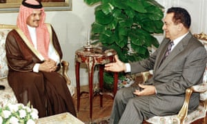 Prince Saud al-Faisal talking to the Egyptian president, Hosni Mubarak, in Cairo in June 1998.