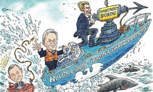 Cartoon of Barclays powerboat fitted with investment banking harpoon
