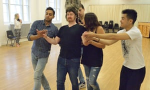 Chris Nayak, Forbes Masson, Jake Mann, Sophie Khan Levy, Chris Lew and Kum Hoi rehearsing A Midsummer Night's Dream.