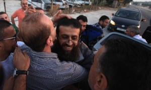 Khadar Adnan arrives in Arraba on Sunday. He had been held for a year under administrative detention.