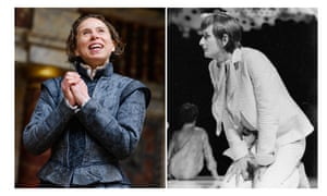 Composite images - Left to Right: Michelle Terry (Rosalind) in As You Like It by William Shakespeare @ Globe Theatre by Tristram Kenton and Ronald Pickup as Rosalind in As You Like it at the National Theatre in 1967 by Zoe Dominic