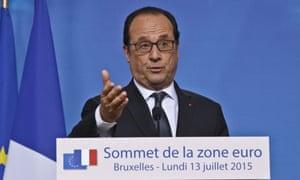 Francois Hollande speaks at the eurozone summit