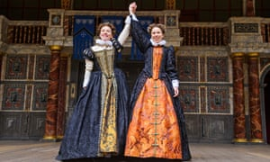 Ellie Piercy (Celia) and Michelle Terry (Rosalind) in As You Like It by William Shakespeare @ Globe Theatre. Directed by Blanche McIntyre.