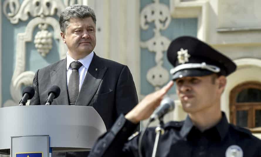 Ukraine's president, Petro Poroshenko, and Kiev police