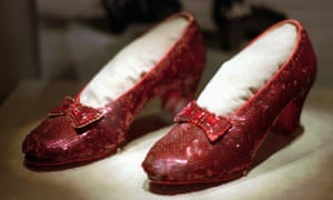 One of the four pairs of ruby slippers worn by Judy Garland in The Wizard of Oz, on display during a media tour of the America's Smithsonian traveling exhibition in Kansas City, Missouri.