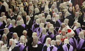 Judges arrive in Westminster Abbey on October 1, 2009 in London, England.