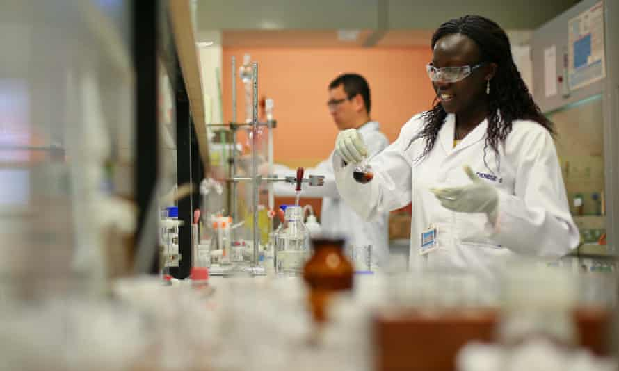 University of Cape Town (UCT) scientists work in the Drug Discovery and Development Centre (H3-D) laboratory in Cape Town, South Africa.