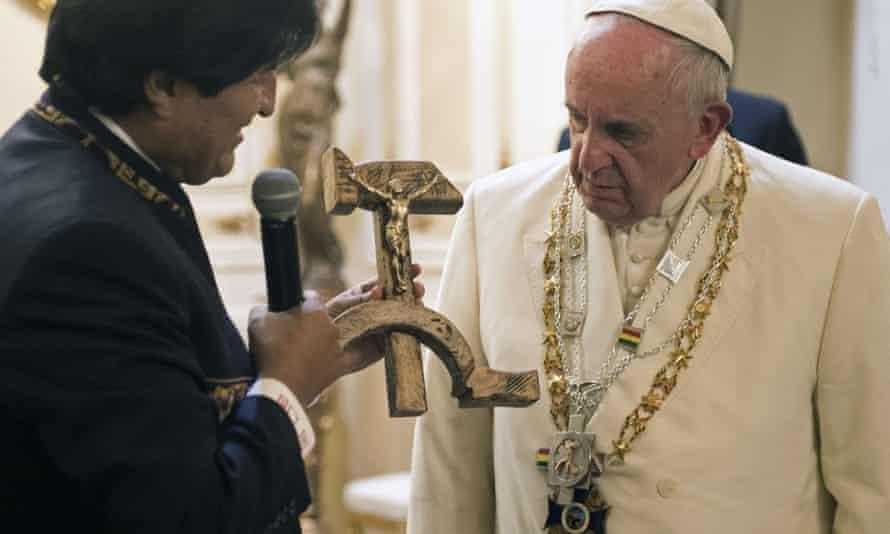 evo morales pope francis crucifix