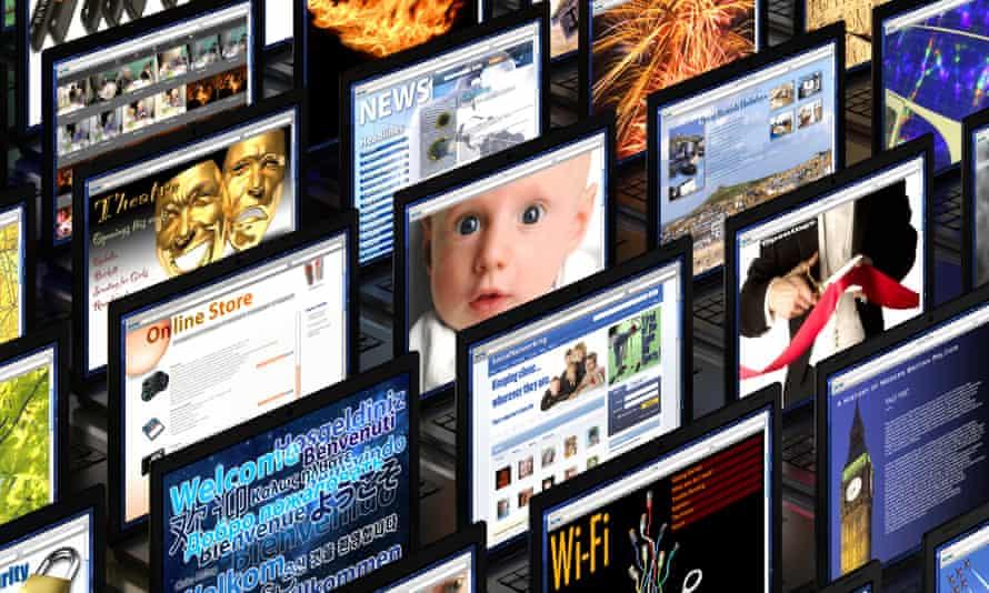 Banks of computer monitors