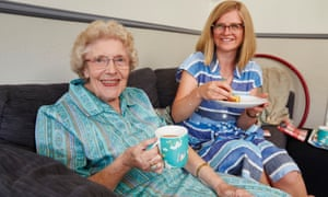 Helen Pidd and Enid take tea and lemon drizzle cake.  Photograph: Christopher Thomond for The Guardian