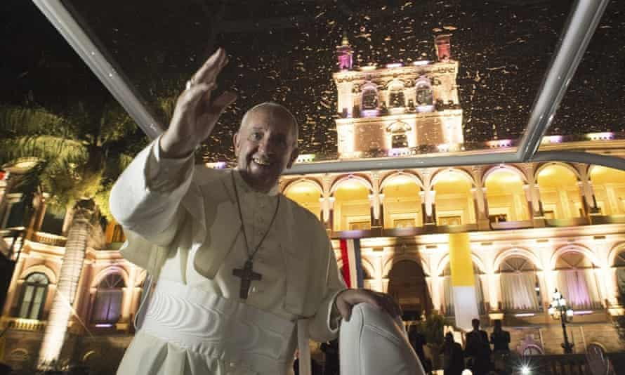 Pope Francis in front of the presidential palace, in Asuncion, Paraguay.