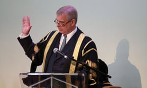 The Duke of York makes a Vulcan salute sign to Sir Patrick Stewart during a speech at his installation as chancellor of the University of Huddersfield.