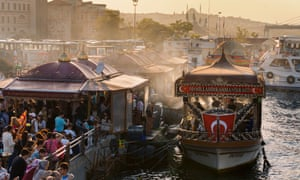 Floating fish sandwich stalls on the Bosphorus in Istanbul.