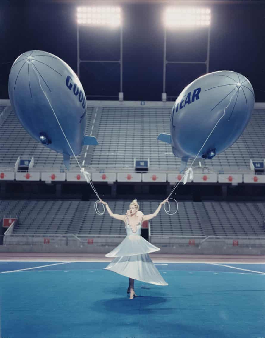 The goddess with two Goodyear blimps.