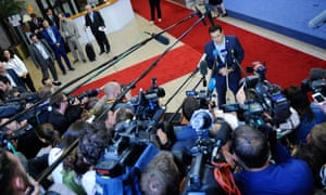 Alexis Tsipras talks to the press at the end of the eurozone leader summit on the Greek crisis, at the European Council headquarters in Brussels.