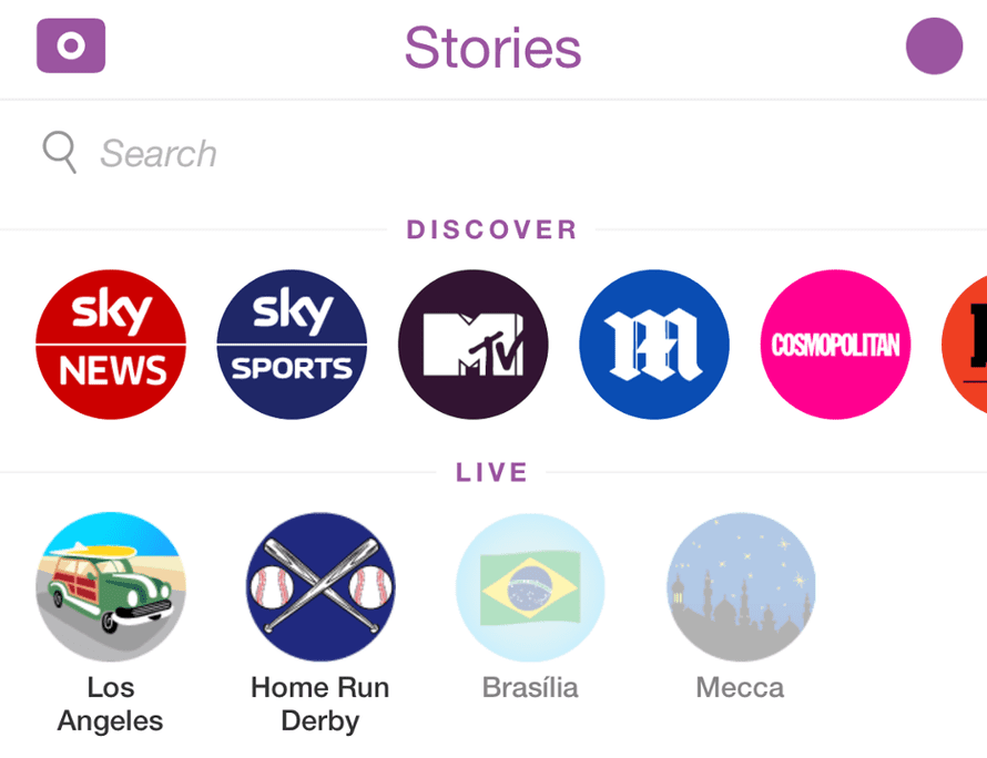 Snapchat Discover partners now appear on the app's Stories screen.