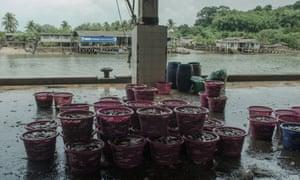 View of Ranong fishing port and fish market, Thailand