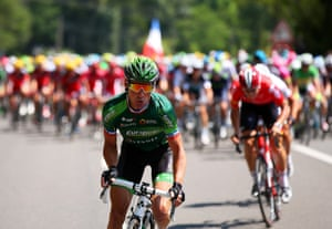 Thomas Voeckler attacks off the front. It is Bastille Day, after all.