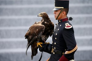 Paris, France A falconer from the Mexican army at the Bastille Day military parade on the Place de la Concorde