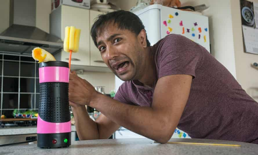 Like an alien looking for a host … Rhik Samadder testing the Egg Master.