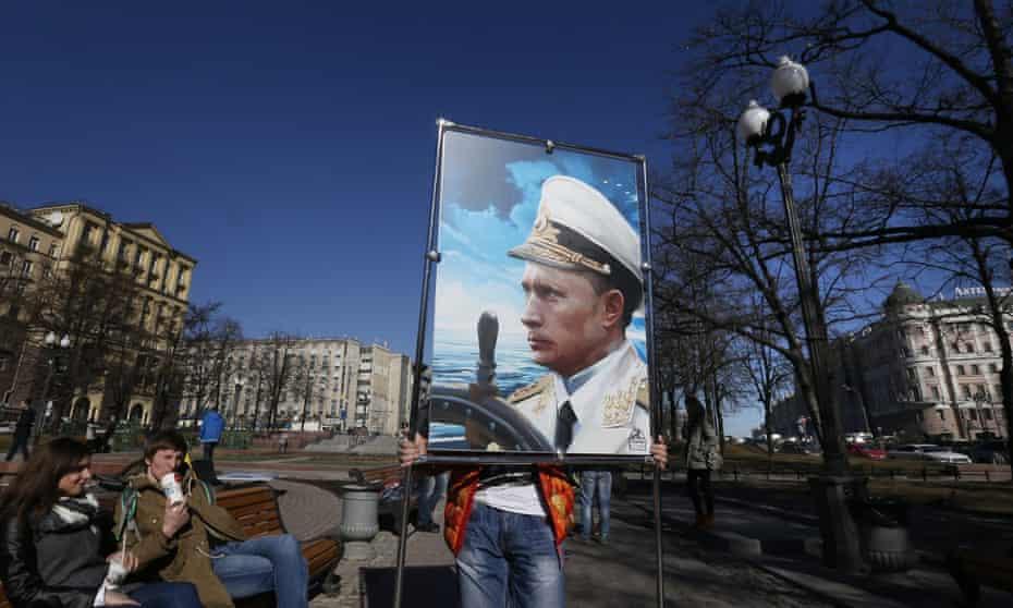 A pro-Putin exhibition entitled Crimea: Return to Home Port, in Moscow. Photograph: Yuri Kochetkov/EPA