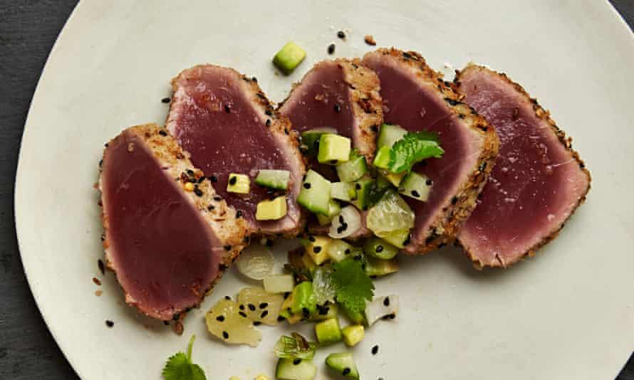 Yotam Ottolenghi: seared tuna with cucumber and avocado salsa