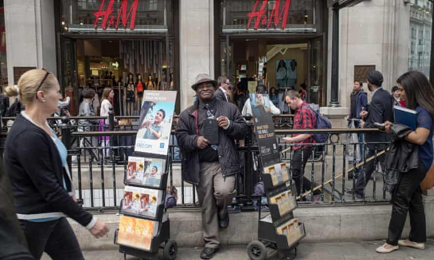Spreading the word … a Jehovah's Witness at a central London stall. Photograph: Sean Smith for the Guardian