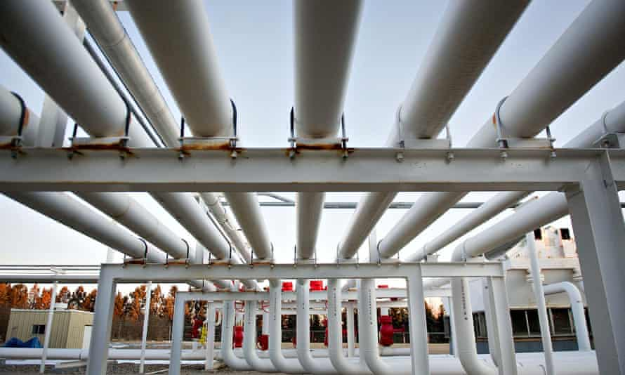 A series of pipes direct natural gas at a Williston Basin Interstate Pipeline
