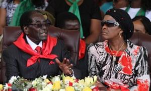 Zimbabwe's president Robert Mugabe celebrates his 91st birthday with his wife Grace in February 2015.