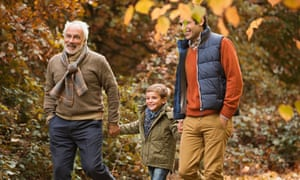 Three generations of men walking in park