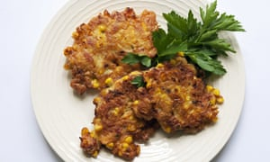 Sweetcorn and bacon fritters on a round plate James