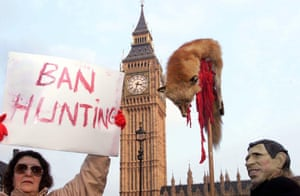 Anti-hunting protesters outside the Houses of Parliament