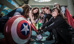 A group of costumed fans at Comic Con.