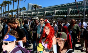 Cosplay enthusiasts walk outside the Convention Center.
