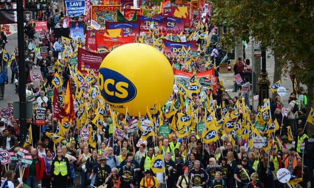 PCS union members march in central London