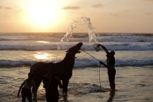 <strong>Gaza Strip </strong> Palestinian Ateya Megdad, washes his horse on the beach in Gaza City before breaking the fast during the holy month of Ramadan