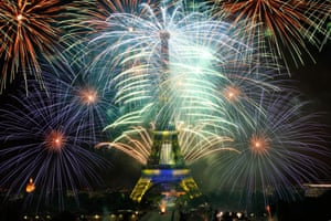 <strong>Paris, France </strong>Fireworks illuminate the Eiffel Tower during Bastille Day celebrations. Bastille Day marks the July 14, 1789, storming of the Bastille prison by angry Paris crowds that helped spark the French Revolution