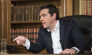 Greek prime minister Alexis Tsipras during his interview on state television