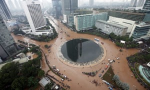 A general view showing flood water on a main road in Jakarta, Indonesia 17 January 2013