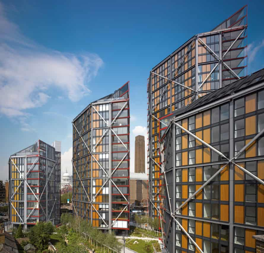 The flats 'bulge out of their steel bracing like a herd of overweight bankers swaggering through the neighbourhood'.