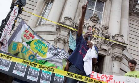 Demonstrators for Cressingham Gardens outside Lambeth town hall