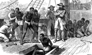 Captives being brought on board a slave ship on the west coast of Africa.