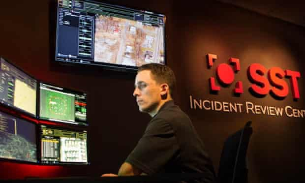 A ShotSpotter employee at the incident review center in California.