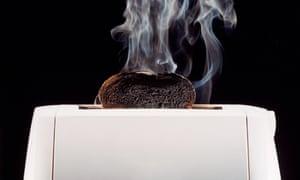 Toast Burning in Toaster.