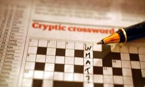Cryptic crossword on newspaper