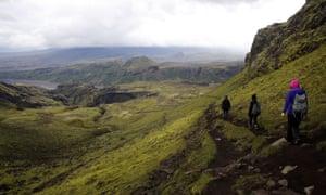 Trekkers on the Fimmvörðuháls trail.